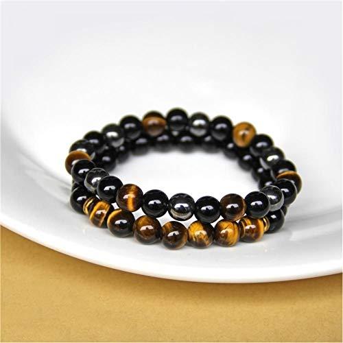 KJFUN 2 Stuks Heren Armbanden Kralen Steen Zwart Onyx Tijgeroog Hematiet Armbanden Dames Heren Geen Magnetische Armband
