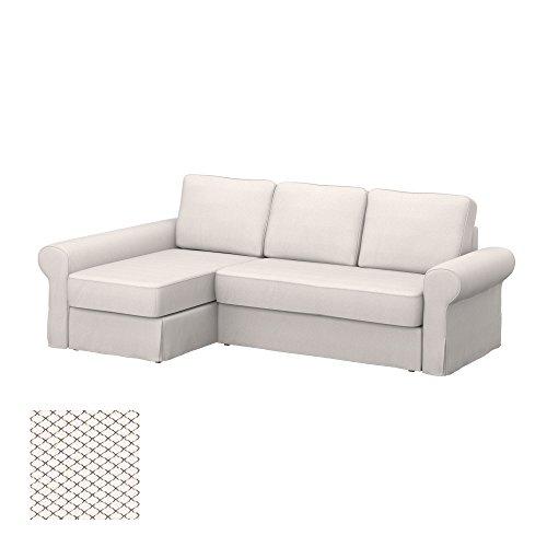 Soferia - IKEA BACKABRO Funda para sofá con chaiselongue, Nordic White