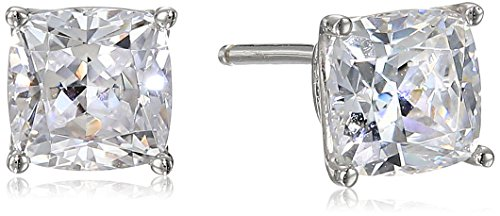 Platinum Plated Sterling Silver CushionCut Stud Earrings made with Swarovski Zirconia