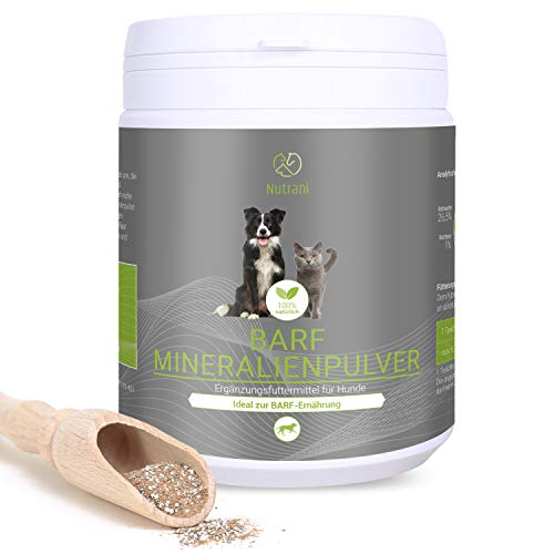 Nutrani Barf Mineralienpulver für Hunde | 500g – 100% natürlicher Barfzusatz mit wertvollen Vitaminen, Mineralien, Spurenelementen sowie Zink, Kupfer und Eisen – Fördert Vitalität und Wohlbefinden