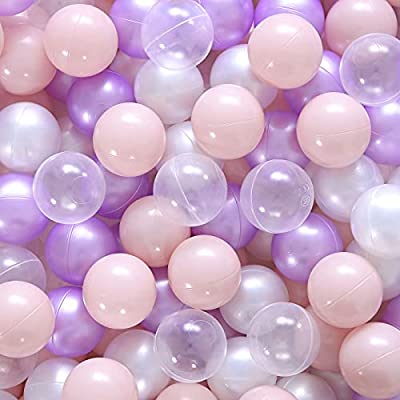 Realhaha Ball Pit Balls, 100pcs Plastic Stress Balls for Kids Girls Playhouse Unicorn Partys Decoration Baby Shower Christmas Party Gifts Home Outdoor Fun Purple Pink Pear Clear from Realhaha