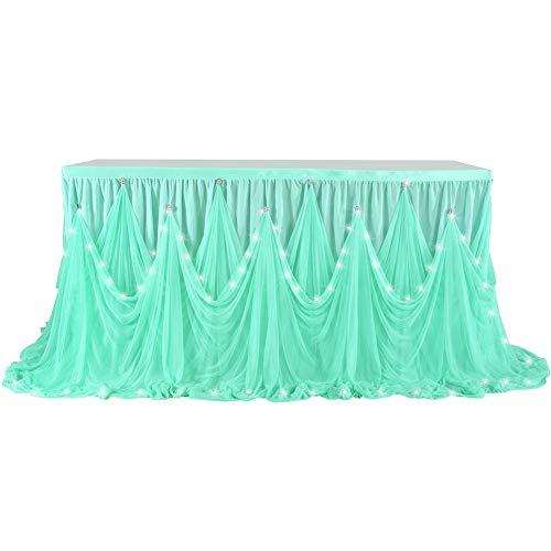 Leoie LED Diamante Stijl Tafelrok voor Feest Bruiloft Verjaardag (met Lamp) 6(ft) X30(in) Tiffany Blue