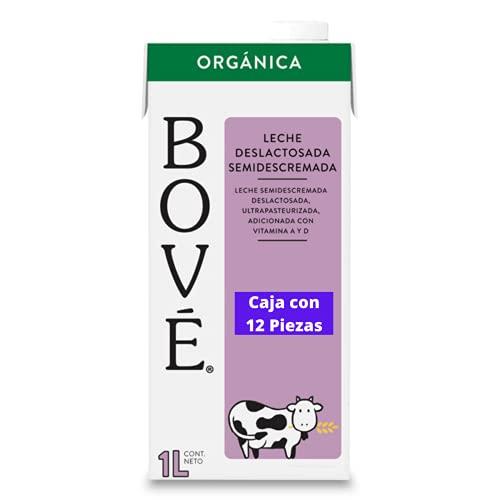 Bové Leche Deslactosada semi-descremada, 1L x 12 piezas, Ultrapasteurizada, Adicionada con Vitamina A y D
