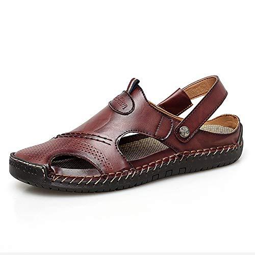 Sandalias Deportivas para Hombre Verano Playa Senderismo Trekking Zapatillas Cuero Transpirable Casuales Zapatos Ajustable