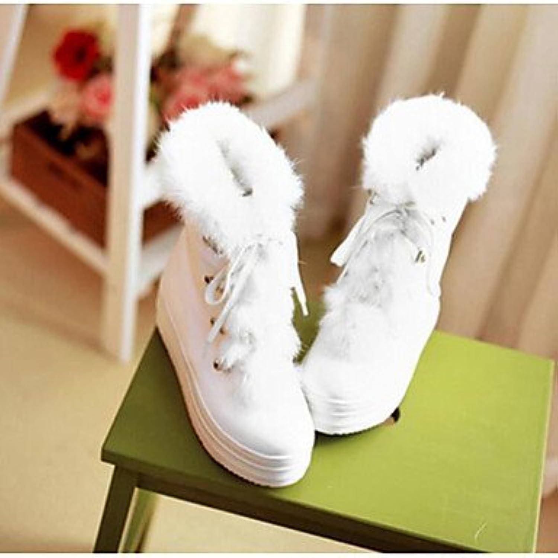 Flach Rosa Beige Weiß Normal Winter PU Komfort Stiefel Damen