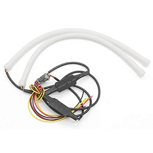Lot de 2 tubes flexibles à LED pour feux de circulation diurnes - 30 cm, 45 cm et 60 cm - Pour voiture - Blanc et jaune (60 cm, blanc jaune vire)