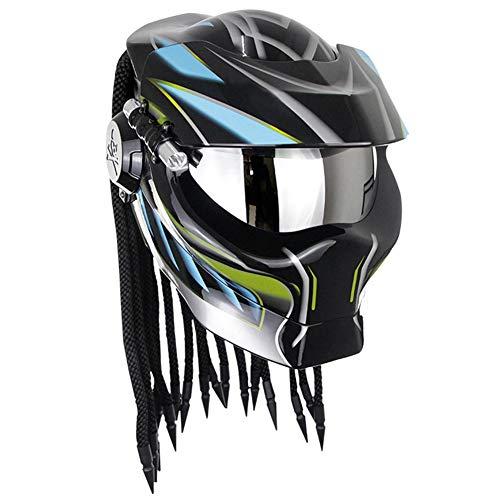 Robot Motorcycle Helmet,Revealable Lens Motorcycle Full Face Helmet,DOT/FMVSS-218 Safety Standards,Adult Unisex, Suitable for All Seasons,Blue Black,XL