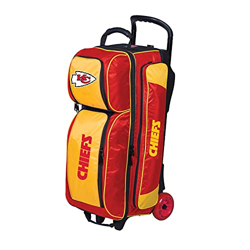 fx bowling bags Strikeforce Bowling NFL Three Ball Bowling Roller Bag with Ball, Shoe and Accessory Pockets