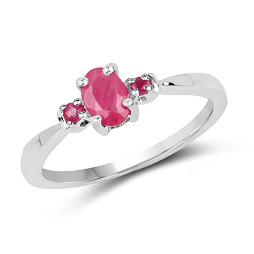 0.56 Carats Genuine Thailand Ruby Three Stone Ring Solid .925 Sterling Silver With Rhodium Plating