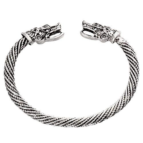 DMUEZW Ancient Gold Silver Fashion Punk Dragon Cuff Bracelet para Mujeres Hombres Brazaletes Charms Pulseras Hombres Joyería Regalos