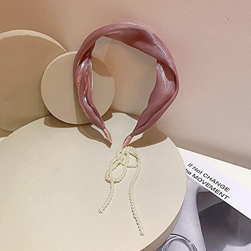 jiarun Corea del Sur nueva diadema de borla temperamento estilo hada transparente mercerizado tela perla trasera colgantes pendientes falsos diadema (Color: 03)