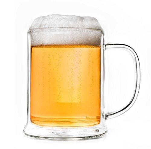 Creano doppelwandiges Bierglas 500ml, Thermoglas Beerglass, Bierkrug, Humpen, Geschenk zum Vatertag
