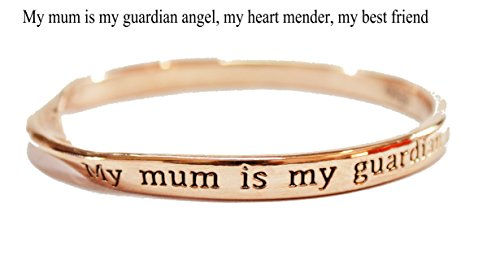 Sterlina Milano Sentimental Bangle My Mum is My Guardian Angel,My Heart Mender,My Best Friend Rosegold Plated