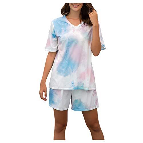 Xniral Damen Pyjama Schlafanzug Kurz Tie-Dye Bedruckte Nachtwäsche Nachthemd Hausanzug Set Kurzarm Rundhals-Ausschnitt für Sommer(g Rosa,XXL)