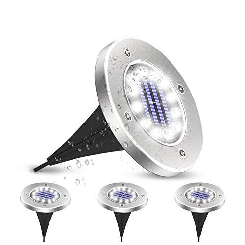 SUNGYIN Solar Bodenleuchten 16 LEDS Solarleuchten Solarlampen Gartenleuchten für Außen, 6000K Kaltweiß Solarlicht Garten Licht, IP65 Wasserdicht für Rasen, Patio, Hof, 4er Pack