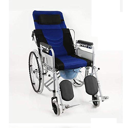 AOLI Wheelchair High Back, Half-Lying Old Man with Toilet Four Brakes Collapsible Lying and Lying Down Trolley Manual