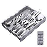 Portaposate da Cassetto - Fino a 9 scomparti - Utile separatore cassetti cucina - Divisori per Cassetti Posate, 16,5 - 29,5 cm x 40 x 5,5 cm, Grigio