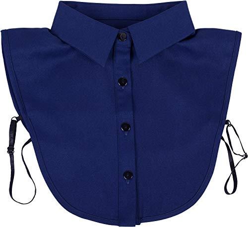 styleBREAKER Damen Blusenkragen Einsatz mit Knopfleiste Unifarben, Kragen für Blusen und Pullover 08020004, Farbe:Dunkelblau