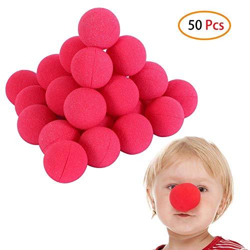 Schneespitze 50 Pezzi Naso da Clown Spugna Naso in Spugna Rosso, Spugna Gommapiuma Naso per Party Halloween Circus Gioco di Ruolo