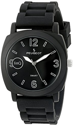 Peugeot 'Bluetooth Connected' Quartz Metal and Rubber Smart Watch, Color:Black (Model: LQ1001BK)