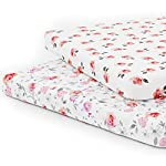 Crib Bedding And Baby Bedding Pack N Play Playard Sheet Set - Portable Mini Crib Mattress Pad Sheets - Convertible Mattress Cover - Stretchy Fitted Jersey Cotton Will Fit Any Playard Size - Soft Baby Safe Fabric For Girls - Petal
