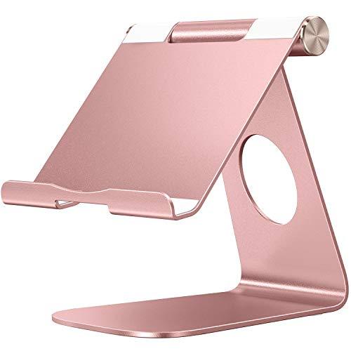 OMOTON Soporte para Tablet, Multi-Ángulo Ajustable Soporte de Aluminio para 2019 iPad Pro 9.7/10.2/10.5/12.9, iPad Mini 2/3 /4, Samsung y Otras Tablets, Máximo 13 Pulgadas,Oro Rosa