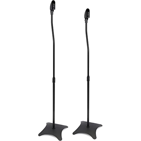 BeMatik - Soportes para altavoz de pie en color negro 2 unidades
