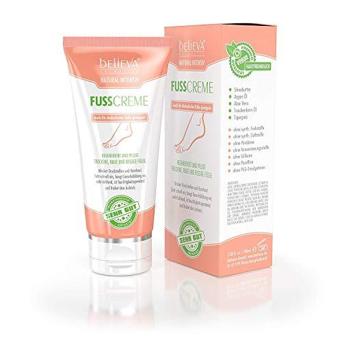 Believa Natural Intensiv Fusscreme für trockene, raue und rissige Füsse. 100ml Vegane Fußpflege Creme die Hornhaut und Schrunden wirkungsvoll reduziert.
