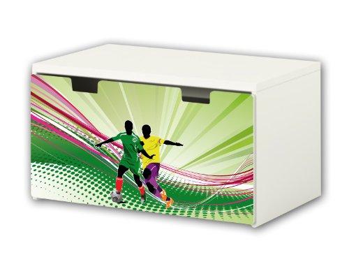Stikkipix Fußball Möbelfolie | BT05 | Möbelaufkleber mit Fußball-Motiv | passend für die Kinderzimmer Banktruhe STUVA von IKEA (90 x 50 cm) Möbel Nicht Inklusive