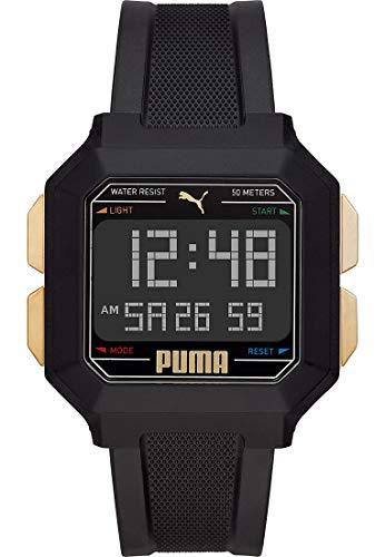Puma Remix LCD - Reloj digital de cuarzo con correa de poliuretano negro para hombre - P5060