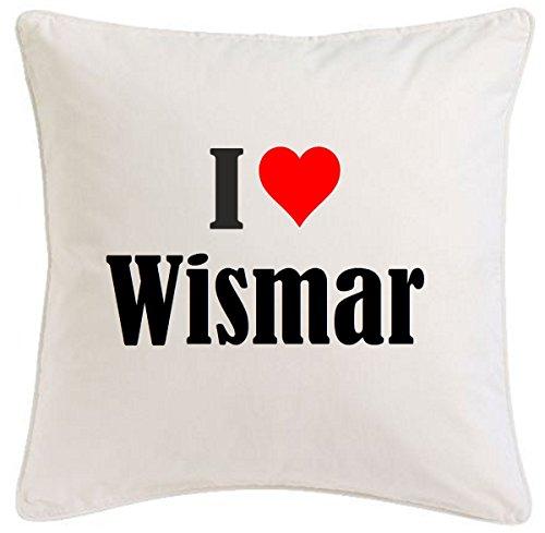 Kissenbezug I Love Wismar 40cmx40cm aus Mikrofaser geschmackvolle Dekoration für jedes Wohnzimmer oder Schlafzimmer in Weiß mit Reißverschluss