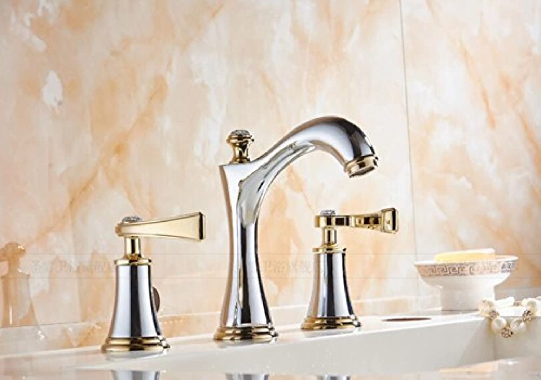 WINZSC European double three hole hot and cold split basin faucet golden bathroom bathroom sink basin faucet