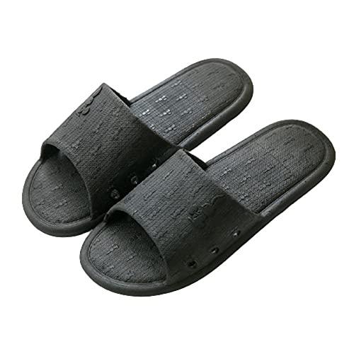 Anlemi Zapatillas de Ducha para el hogar,Deslizadores del Cuarto de baño del PVC,Deslizadores Antideslizantes Interiores Lindos-Negro_44-45,Baño Sandalias de Punta Descubierta