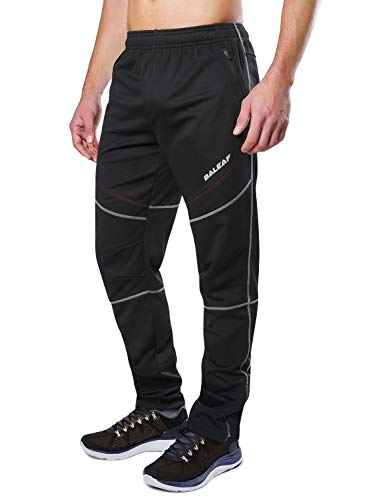 BALEAF Men's Biking Pants Running Athletic Thermal Fleece Windproof Winter Workout Mountain Bike Pants with Pockets Black Size M