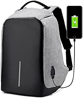 Anti-Theft Laptop Backpack Travel Bag Water Repellent w/USB Port Travel Busines (Gray)