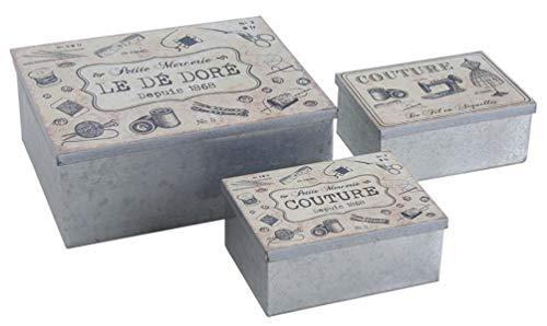 PEGANE Lot de 3 boites de Rangement en métal galvanisé, laqué Gris