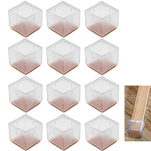 Lezed Chair Silicone Leg Caps Furniture Table Feet Pads Covers Wood Floor Protectors Anti-slip Prevent Scratches For Chair Desk Feet, Transparent, Caliber Square 12Pcs (42-48 mm)