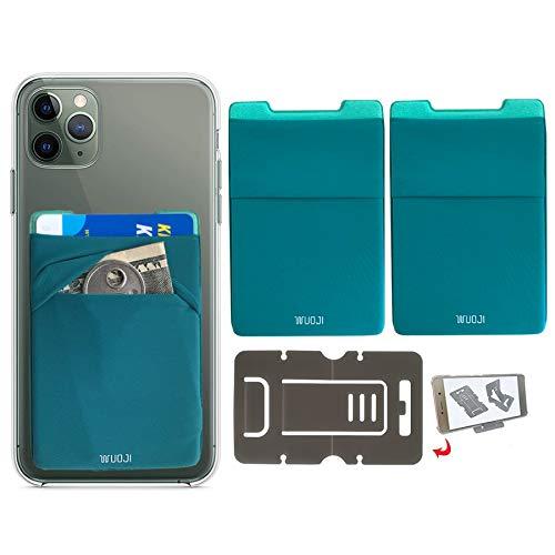 [2PC] RFID Blocking Phone Card Wallet - Double Secure Pocket - Ultra-Slim Self Adhesive Credit Card Holder Card Sleeves Phone Wallet Sticker All Smartphones (Bluegre)