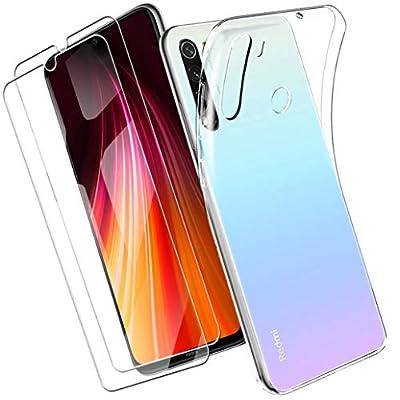 Yoowei Funda Compatible con Xiaomi Redmi Note 8 + [2-Pack] Cristal Templado, Transparente Suave Delgado TPU Silicona Carcasa con 2 Unidades Protector de Pantalla de Vidrio Templado