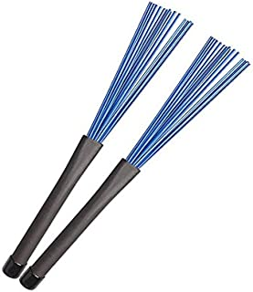 Timiy (1Pair) 13Inch Retractable Nylon Drum Brushes For Jazz Rock (Blue+Black)