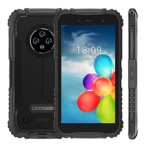 Móvil Resistente DOOGEE S35, IP68 Smartphone Libre Antigolpes Android 10, Batería de 4350mAh, 2GB+16GB, 5,0 Pantalla, Cámara Triple 13MP, Dual SIM, Reconocimiento Facial GPS, Negro