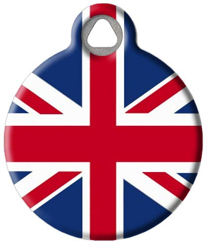 Dog Tag Art Custom Pet ID Tag for Dogs - British Flag - Large - 1.25 inch