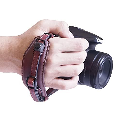 Correa de Mano para cámara, LYNCA E6 Correa de Muñeca de Cuero para Cámara con Placa de Liberación Rápida, Excelente Seguridad Estabilidad y Control para Canon Nikon Sony DSLR Camera y Más (Marrón)