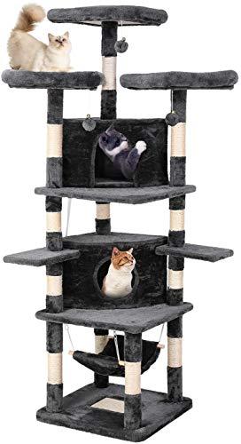 pedy Kratzbaum Groß, Katzen Kratzbäume Kletterbaum Katzenmöbel Katzenkratzbaum mit 3 Aussichtsplattform Plüschbällen, Dunkelgrau, 188cm