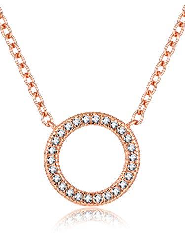Presentski Damen Kette Rosegold-Halskette 925 Silber mit Anhänger Kreis Geometrie Zirkonia weiß 45cm|Zarte Kette Runder Anhänger