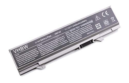 vhbw Batterie remplace Dell 312-0762, 312-0769, 451-10616, KM668, KM742, KM752, KM760, KM970, MT186 pour Laptop (4400mAh, 11.1V, Li-ION, Gris argenté)
