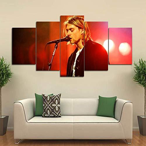 ZDDBD Cuadro de Lienzo Moderno, póster de Cantante, 5 Piezas, Pintura de Kurt Cobain, Arte de Pared, decoración del hogar para Sala de Estar, Cuadros Impresos, Ilustraciones