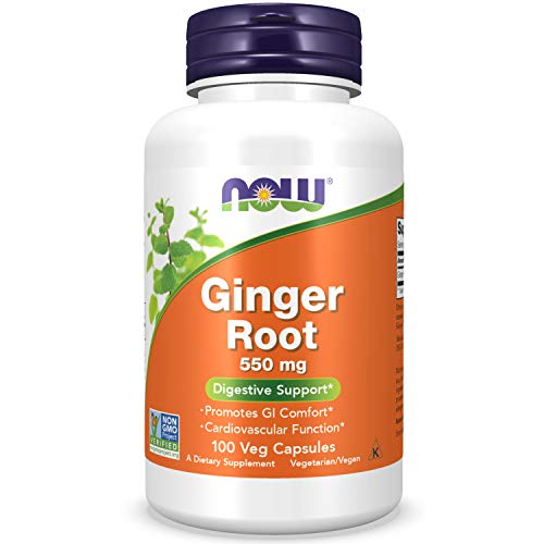 NOW Foods Ginger Root, 100 Capsules / 550mg(Packaging May Vary)