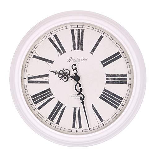 Homevibes Reloj De Pared Blanco Shunshun Clock How&J, Diseño Antiguo, Estilo Vintage, Medida 39x39, Reloj De Estacion De Tren
