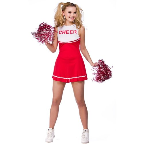 High School Cheerleader Ladies Fancy Dress Costume Medium 42-44